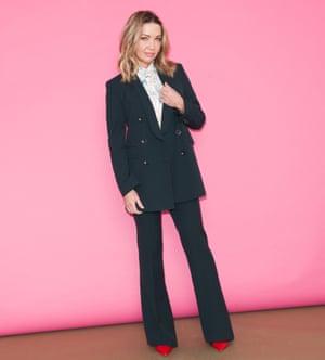 Jess Cartner-Morley in trouser suit and Hawaiian shirt
