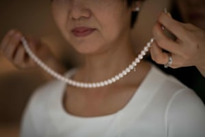 A neckless made of cultured Akoya pearls in Tokyo