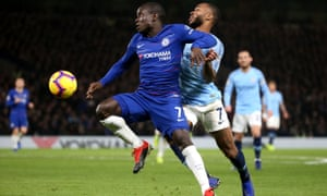 N'Golo Kanté holds off a challenge from Raheem Sterling in Chelsea's 2-0 win at Stamford Bridge.