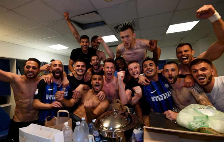 Internazionale players celebrate after the match.