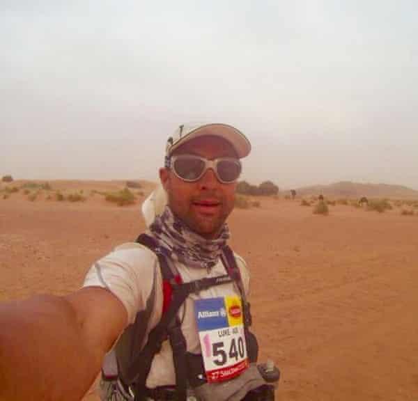 Luke Tyburski during an ultra-mouse in the desert.