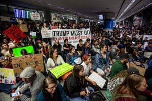 Protests were also held at the arrivals hall of San Francisco's SFO International Airport after people arriving from Muslim-majority countries were held at the border control as a result of the new executive order.