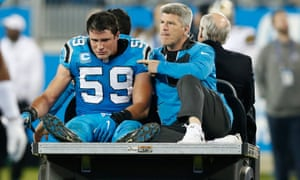 Luke Kuechly is carted off the field with a concussion in 2016