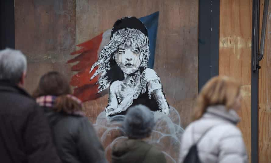 A Banksy artwork in London, opposite the French Embassy.
