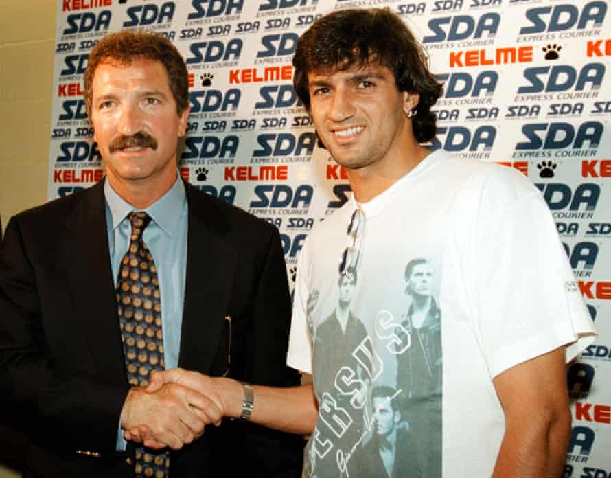 Souness welcomes his new signing Gigi Lentini to Torino in June 1997.