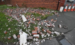 High winds damaged a terraced house in Dukinfield, Manchester