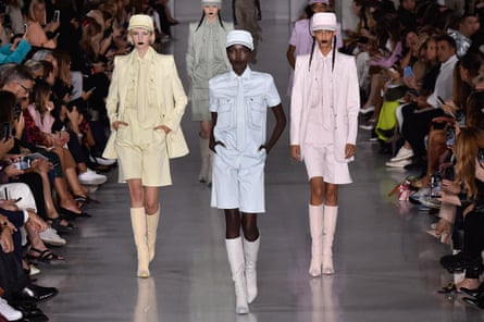 Max Mara models in military-inspired coords, from left: Bente Oort, Ajok Madel and Mona Tougaard.