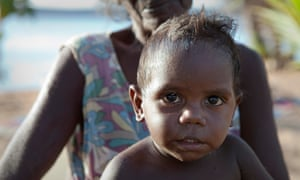 A young Aboriginal boy at Nyinykay homeland, Nhulunbuy, in the Northern Territory.
