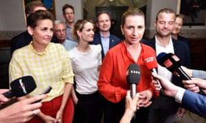 Mette Frederiksen talks to the media