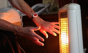 An elderly lady with her electric fire on at home. An estimated 750,000 elderly people are being forced to choose between paying for food and heating, a charity has warned
