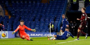 Christian Pulisic of Chelsea scores their team's third goal.
