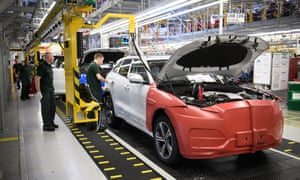 Workers at the Jaguar Land Rover factory in Solihull.