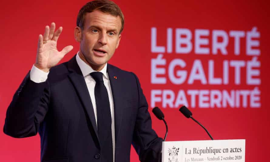 Emmanuel Macron delivers his speech about the strategy to fight separatism