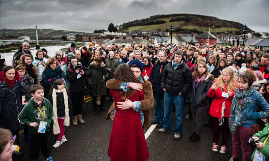 actors from Theatr Genedlaethol Cymru (the Welsh-language National Theatre of Wales) give a promenade performance in Aberystwyth.