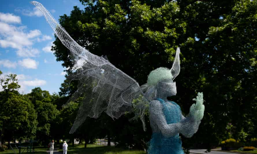 Sculptor Luke Perry's medical worker, installed at a park near Birmingham, a tribute to care workers during the coronavirus pandemic.