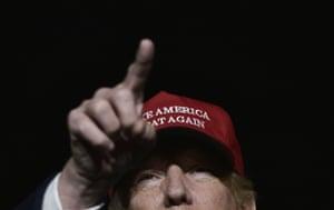 Donald Trump addresses a campaign rally in 2016