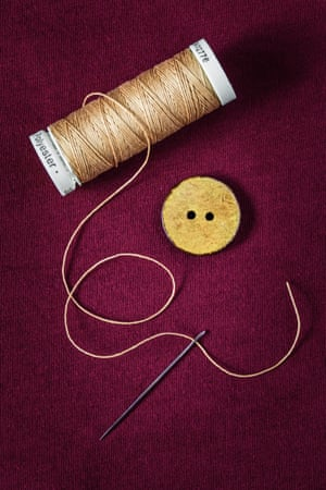 Thread, button and needle