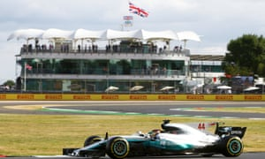 Lewis Hamilton guides his Mercedes through Luffield corner during first practice at Silverstone for the British Grand Prix. The circuit will cease hosting the race after 2019