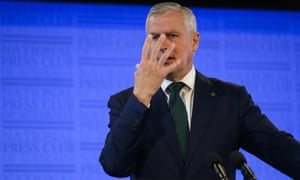 Michael McCormack on the defensive at the National Press Club in Canberra on Tuesday.