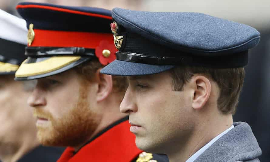 Prince William and Prince Harry attend the Remembrance Sunday ceremony at the Cenotaph in London, 2015.