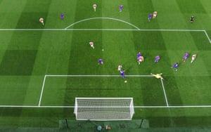 Alexandre Lacazette scores the equaliser for The Gunners.
