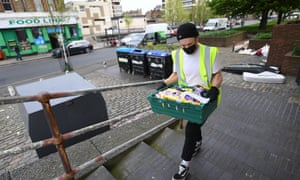 Emergency food supplies delivered to a family at a block of flats in London