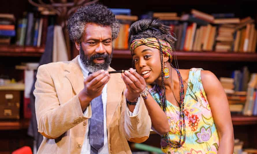 Lashana Lynch as Rita, in Educating Rita, on stage with Lenny Henry.