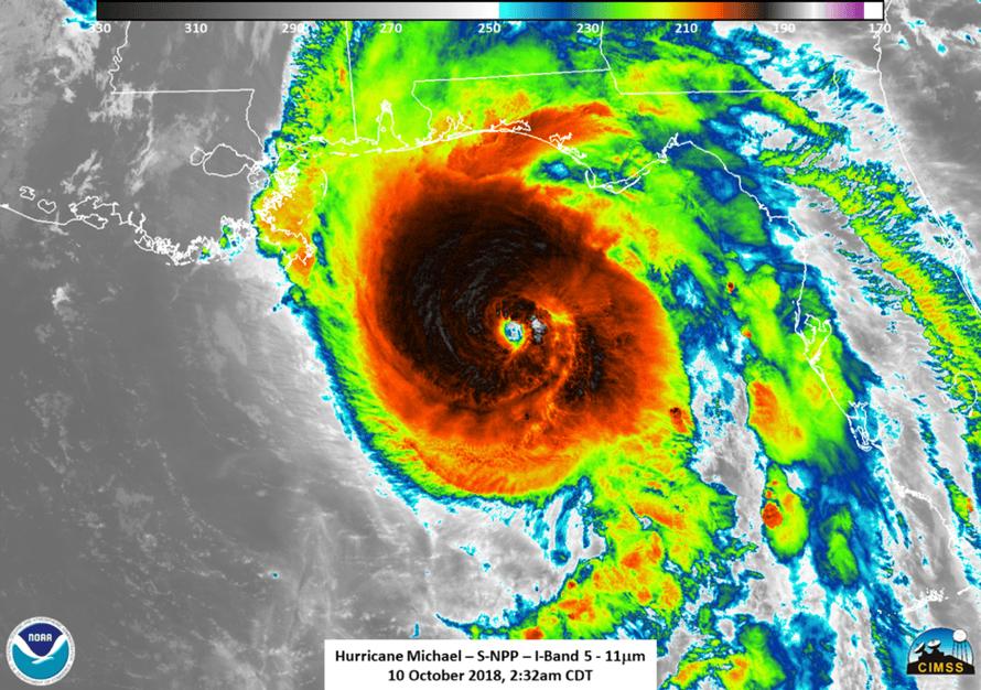 Infrared image of Hurricane Michael