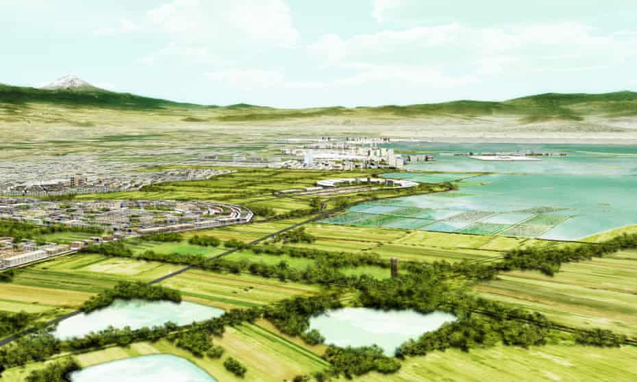 Artist's impression of the Texcoco urban development plan that would see lakes returned to Mexico City.
