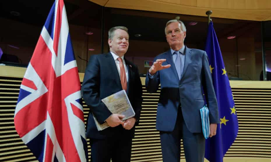 David Frost and Michel Barnier at the start of the first round of post-Brexit trade talks in Brussels, 2 March