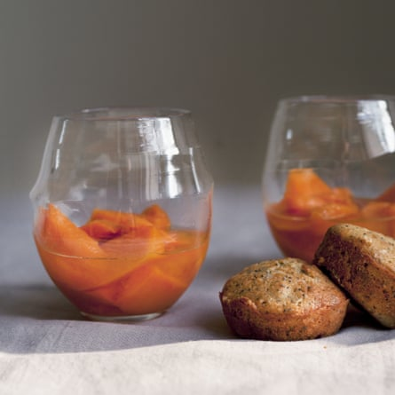 Nigel Slater's mango in muscat (with poppy seed madeleines)