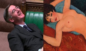 Lay back and think of England … Jacob Rees-Mogg and Modigliani painting.