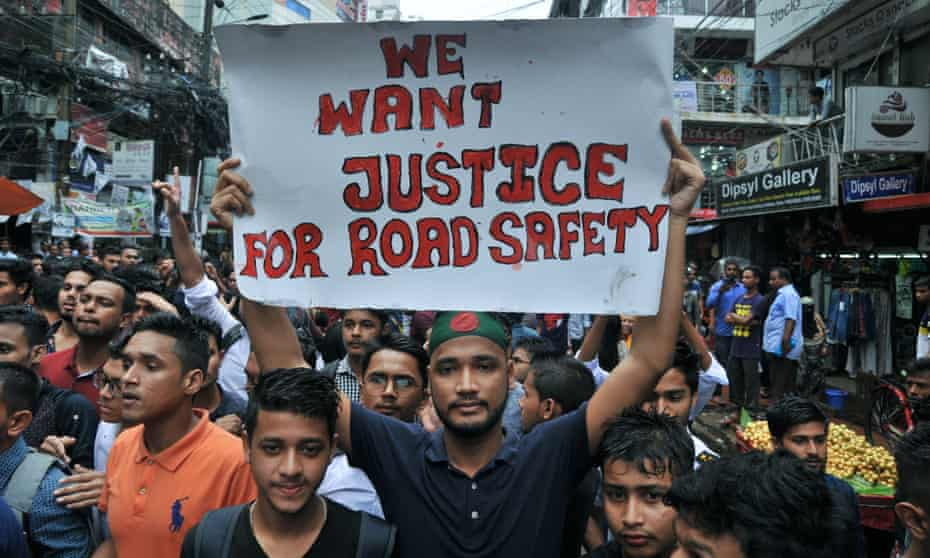The protests follow the deaths of a boy and girl who were killed by a speeding bus.