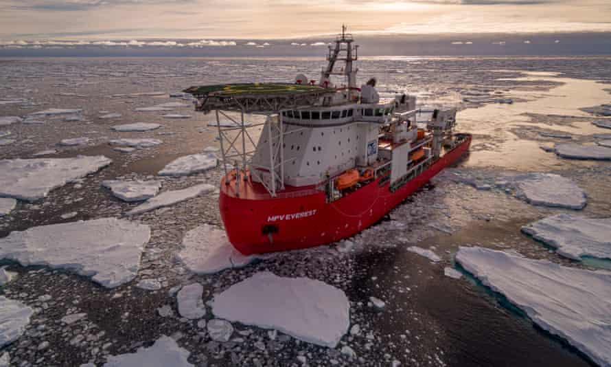 Australia's Antarctic resupply vessel, MPV Everest, is continuing its return journey after a fire in the engine room.