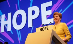 Nicola Sturgeon speaking at the Scotttish National party conference