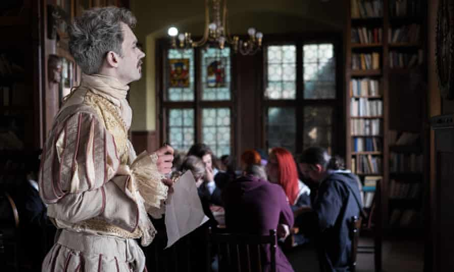 Dead ringer: a ghost in period costume addresses participants.