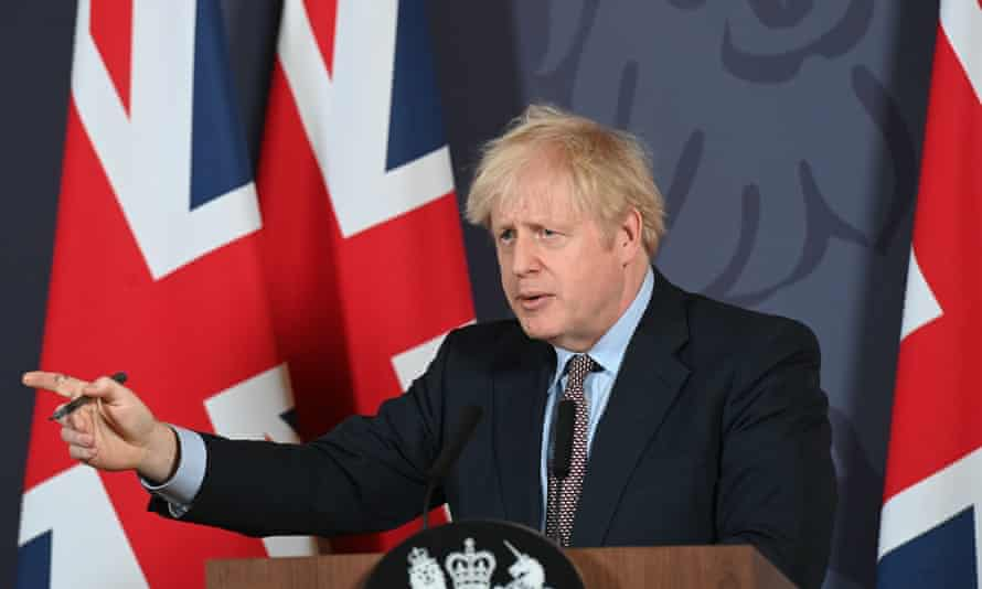 Boris Johnson during a media briefing in Downing Street, London, on the agreement of a post-Brexit trade deal.