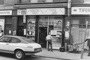 Video/Take away shop. 108 Brick Lane, east London 1985.