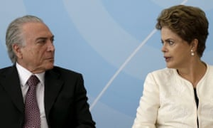 Brazil's vice-president Michel Temer talks with President Dilma Rousseff