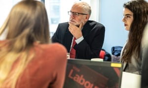 Jeremy Corbyn meeting students at the University of Lancaster as his party announced plans for free broadband