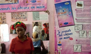 Advertising for contraceptives in a hairdressing salon in Yaounde, Cameroon, West Africa.