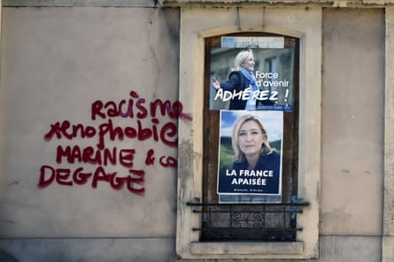Graffiti on the wall of a Front National campaign office