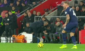José Mourinho goes into the Southampton dugout to confront the Saints' goalkeeping coach, Andrew Sparkes, leading to his yellow card