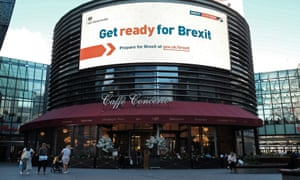 An electronic display showing a 'Get ready for Brexit' advert in London