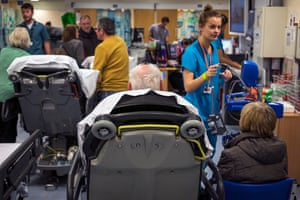 Patients waiting in a busy A&E department