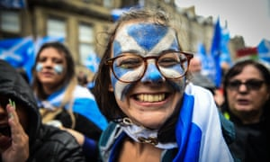 Protesters at a pro-independence march from Holyrood to the Meadows in Edinburgh on 5 October 2019