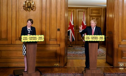 Dido Harding and Boris Johnson during a media briefing in Downing Street on coronavirus
