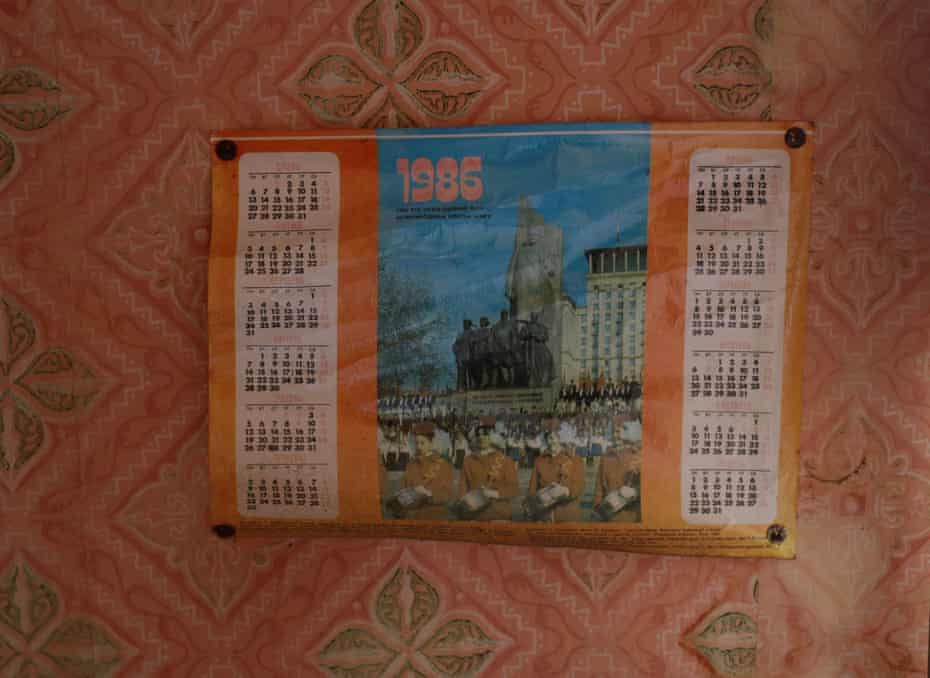 A calendar on the wall of a house in the abandoned village of Zalissya.