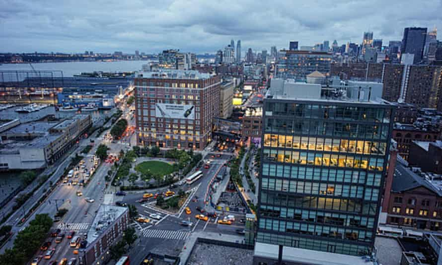 View from the top floor of the Standard Hotel, New York City, US.