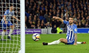 Shane Duffy of Brighton and Hove Albion looks on as he almost scores an own goal